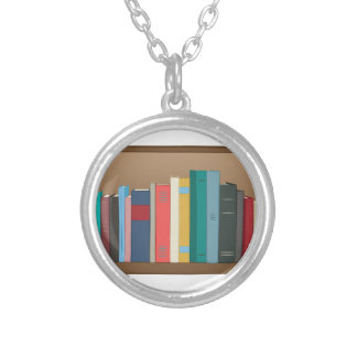 Book Shelf Silver Plated Necklace
