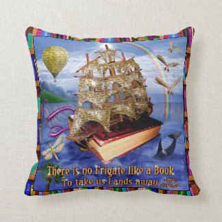 Book Ship Ocean Scene with Emily Dickinson Quote Cushion