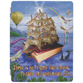 Book Ship Ocean Scene with Emily Dickinson Quote iPad Cover
