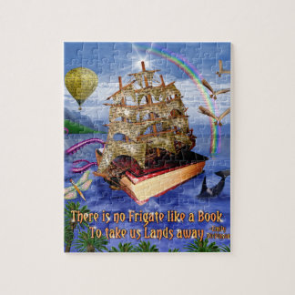 Book Ship Ocean Scene with Emily Dickinson Quote Jigsaw Puzzle