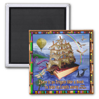 Book Ship Ocean Scene with Emily Dickinson Quote Magnet