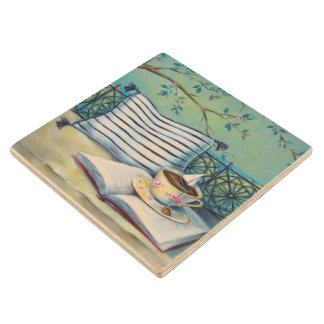 Book & Teacup Whimsical Wood Coaster