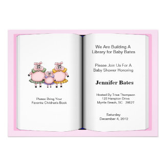 Book Theme Baby Shower Invitation Girl