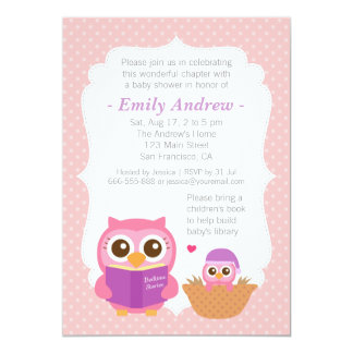 "Book Themed, Girl Cute Owl Baby Shower Invitations 5"" X 7"" Invitation Card"
