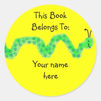 Book Worm, Book Plate Classic Round Sticker