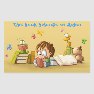 Book Worm Rectangular Sticker