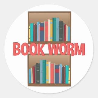 Book Worm Round Sticker
