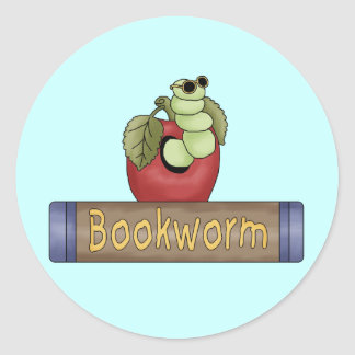 Book Worm T shirts and Gifts Round Sticker