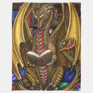 Book Wyrm Reading Dragon Fleece Blanket