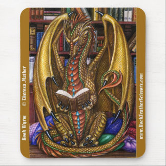 Book Wyrm Reading Dragon Mousepad