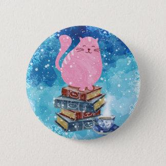 Bookish Cat in Winter 6 Cm Round Badge