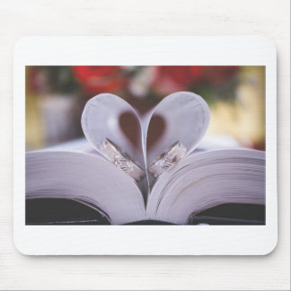 Bookish heart mouse pad