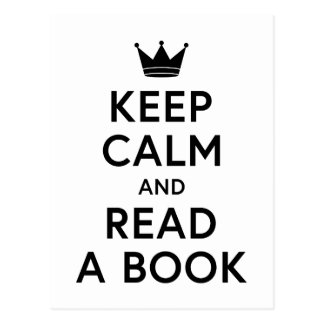 Bookish Keep Calm and Read a Book Postcard