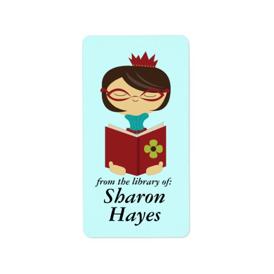 Bookish Library Reading Lady Bookplate Gift Address Label