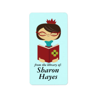 Bookish Library Reading Lady Bookplate Gift Label