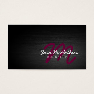 Bookkeeper Finance Services Dark Cursive Monogram Business Card