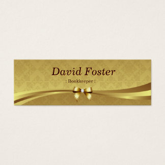 Bookkeeper - Shiny Gold Damask Mini Business Card