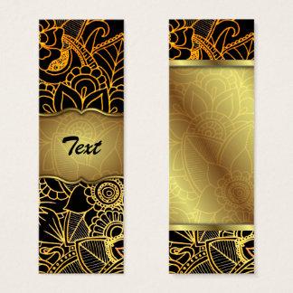 Bookmark Business Card Floral Doodle Gold G523