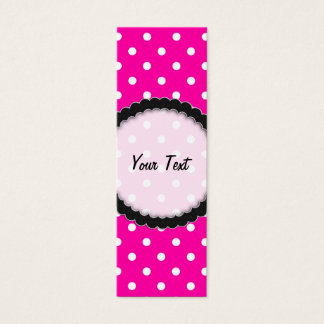 Bookmark Business Card Hot Pink Polka Dot