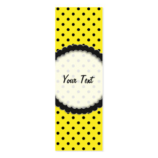 Bookmark Business Card Hot Yellow Polka Dot