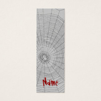 Bookmark Spiderweb Halloween Custom Name Mini Business Card
