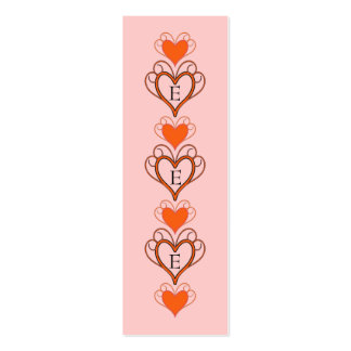 Bookmarks  with hearts ornaments business card template