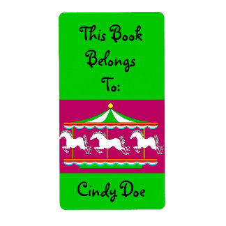 Bookplate Book Label Carousel Child Merry-Go-Round Shipping Label