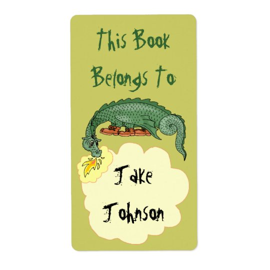 Bookplate Dragon Breathes Name Book Label Belongs