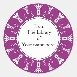 Bookplate - Flourish Flowers Round Sticker