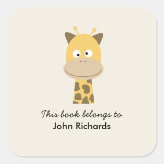 Bookplate Funny Giraffe Square Sticker