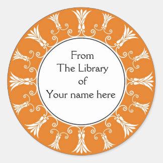 Bookplate - Orange Flourish Flowers Round Stickers
