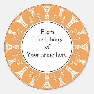 Bookplate - Peach Flourish Flowers Stickers