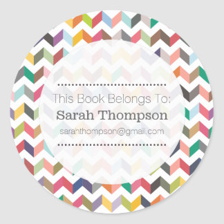 Bookplate School Name Stickers Aztec Chevron