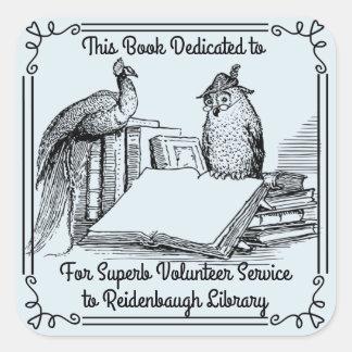 Bookplate Sticker Library Volunteers. School Name