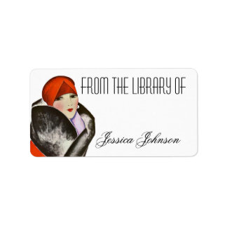 Bookplate Vintage Deco Fashionable Lady Library Of Address Label