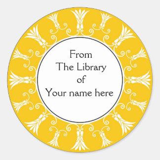 Bookplate - Yellow Flourish Flowers Stickers