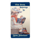 Bookplates Vintage Girl Reading Belongs To Labels
