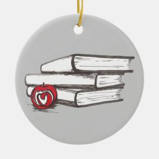 Books + An Apple   Customizable Bookworm Ornament