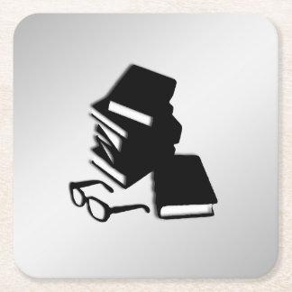 Books and Glasses Square Paper Coaster
