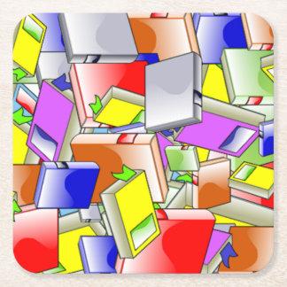 Books and More Books Square Paper Coaster