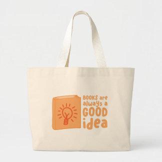 books are always a good idea large tote bag