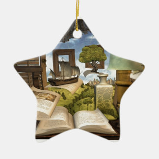 Books are knowledge! ceramic ornament