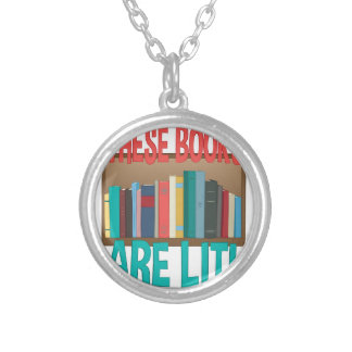 Books Are Lit Silver Plated Necklace
