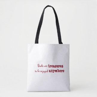 Books are treasures to be enjoyed anywhere tote bag