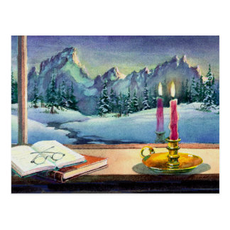 BOOKS & CANDLE  by SHARON SHARPE Postcard