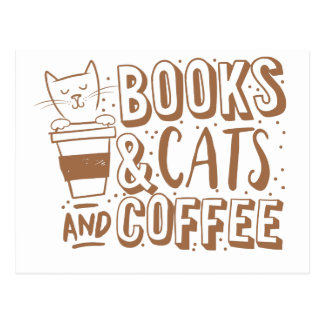 books cats and coffee postcard
