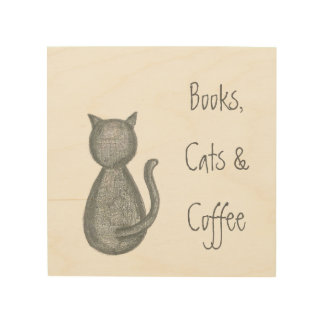 Books, Cats, & Coffee - Pencil Drawing - Original Wood Wall Art