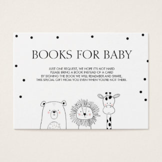 Books for baby Bring a book Black white Animals Ca Business Card
