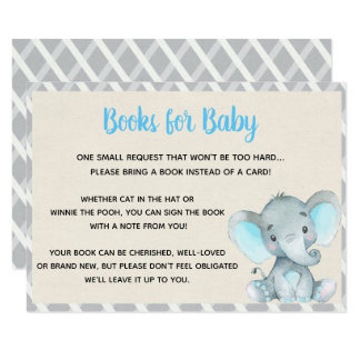 Books for Baby Card Elephant Baby Shower Boy