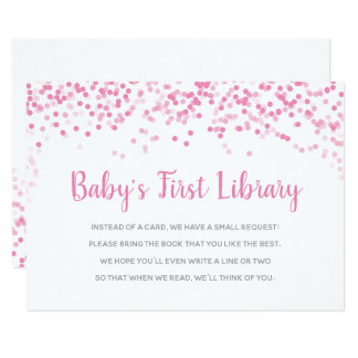 Books for Baby Shower Pink Confetti Shower Card